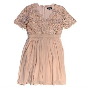 Lulu's Angel in Disguise Lace Skater Dress Blush